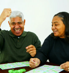 senior man and woman playing games